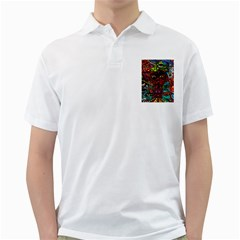 Abstract Psychedelic Face Nightmare Eyes Font Horror Fantasy Artwork Golf Shirts by Nexatart