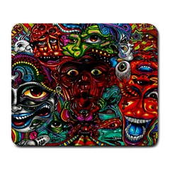 Abstract Psychedelic Face Nightmare Eyes Font Horror Fantasy Artwork Large Mousepads by Nexatart