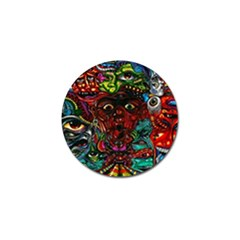 Abstract Psychedelic Face Nightmare Eyes Font Horror Fantasy Artwork Golf Ball Marker (10 Pack)