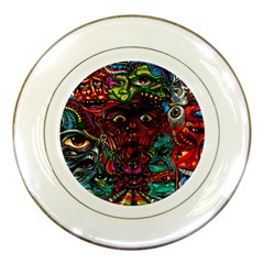Abstract Psychedelic Face Nightmare Eyes Font Horror Fantasy Artwork Porcelain Plates