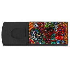 Abstract Psychedelic Face Nightmare Eyes Font Horror Fantasy Artwork Usb Flash Drive Rectangular (4 Gb)
