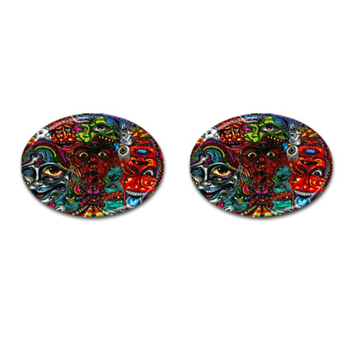 Abstract Psychedelic Face Nightmare Eyes Font Horror Fantasy Artwork Cufflinks (Oval)