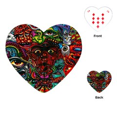Abstract Psychedelic Face Nightmare Eyes Font Horror Fantasy Artwork Playing Cards (heart)  by Nexatart