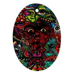 Abstract Psychedelic Face Nightmare Eyes Font Horror Fantasy Artwork Oval Ornament (two Sides) by Nexatart