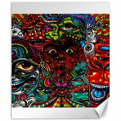 Abstract Psychedelic Face Nightmare Eyes Font Horror Fantasy Artwork Canvas 8  X 10  by Nexatart