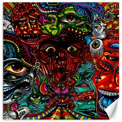 Abstract Psychedelic Face Nightmare Eyes Font Horror Fantasy Artwork Canvas 12  X 12