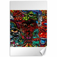 Abstract Psychedelic Face Nightmare Eyes Font Horror Fantasy Artwork Canvas 24  X 36  by Nexatart