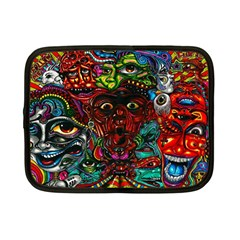Abstract Psychedelic Face Nightmare Eyes Font Horror Fantasy Artwork Netbook Case (small)  by Nexatart