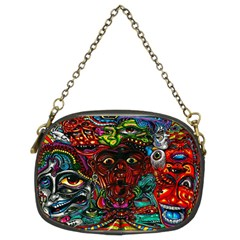Abstract Psychedelic Face Nightmare Eyes Font Horror Fantasy Artwork Chain Purses (two Sides)
