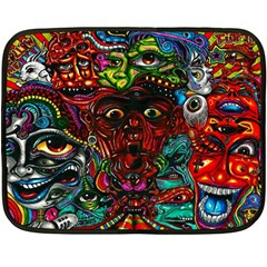 Abstract Psychedelic Face Nightmare Eyes Font Horror Fantasy Artwork Fleece Blanket (mini) by Nexatart