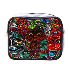 Abstract Psychedelic Face Nightmare Eyes Font Horror Fantasy Artwork Mini Toiletries Bags