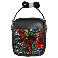 Abstract Psychedelic Face Nightmare Eyes Font Horror Fantasy Artwork Girls Sling Bags by Nexatart