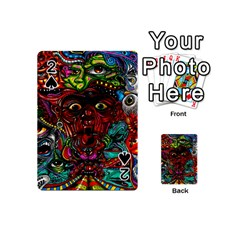 Abstract Psychedelic Face Nightmare Eyes Font Horror Fantasy Artwork Playing Cards 54 (mini)  by Nexatart