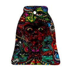 Abstract Psychedelic Face Nightmare Eyes Font Horror Fantasy Artwork Ornament (bell)
