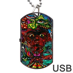 Abstract Psychedelic Face Nightmare Eyes Font Horror Fantasy Artwork Dog Tag Usb Flash (two Sides)