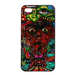Abstract Psychedelic Face Nightmare Eyes Font Horror Fantasy Artwork Apple Iphone 4/4s Seamless Case (black) by Nexatart