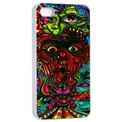 Abstract Psychedelic Face Nightmare Eyes Font Horror Fantasy Artwork Apple Iphone 4/4s Seamless Case (white) by Nexatart