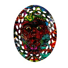 Abstract Psychedelic Face Nightmare Eyes Font Horror Fantasy Artwork Oval Filigree Ornament (two Sides)