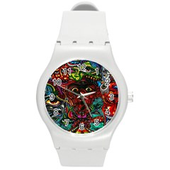 Abstract Psychedelic Face Nightmare Eyes Font Horror Fantasy Artwork Round Plastic Sport Watch (m)