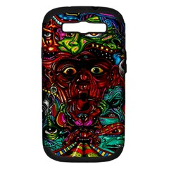 Abstract Psychedelic Face Nightmare Eyes Font Horror Fantasy Artwork Samsung Galaxy S Iii Hardshell Case (pc+silicone) by Nexatart