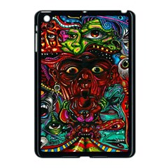 Abstract Psychedelic Face Nightmare Eyes Font Horror Fantasy Artwork Apple Ipad Mini Case (black) by Nexatart