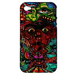 Abstract Psychedelic Face Nightmare Eyes Font Horror Fantasy Artwork Apple Iphone 4/4s Hardshell Case (pc+silicone) by Nexatart