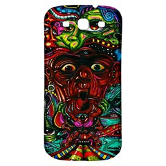 Abstract Psychedelic Face Nightmare Eyes Font Horror Fantasy Artwork Samsung Galaxy S3 S Iii Classic Hardshell Back Case by Nexatart