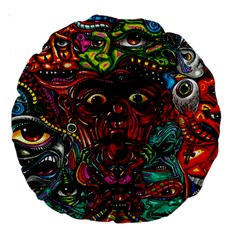 Abstract Psychedelic Face Nightmare Eyes Font Horror Fantasy Artwork Large 18  Premium Round Cushions