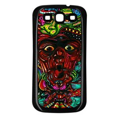 Abstract Psychedelic Face Nightmare Eyes Font Horror Fantasy Artwork Samsung Galaxy S3 Back Case (black)