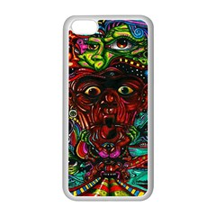 Abstract Psychedelic Face Nightmare Eyes Font Horror Fantasy Artwork Apple Iphone 5c Seamless Case (white)