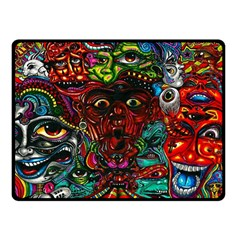 Abstract Psychedelic Face Nightmare Eyes Font Horror Fantasy Artwork Double Sided Fleece Blanket (small)