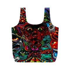 Abstract Psychedelic Face Nightmare Eyes Font Horror Fantasy Artwork Full Print Recycle Bags (m)