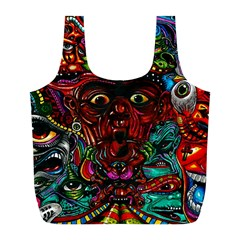 Abstract Psychedelic Face Nightmare Eyes Font Horror Fantasy Artwork Full Print Recycle Bags (l)