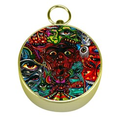 Abstract Psychedelic Face Nightmare Eyes Font Horror Fantasy Artwork Gold Compasses