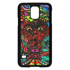 Abstract Psychedelic Face Nightmare Eyes Font Horror Fantasy Artwork Samsung Galaxy S5 Case (black) by Nexatart