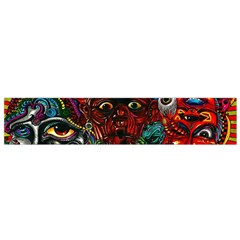 Abstract Psychedelic Face Nightmare Eyes Font Horror Fantasy Artwork Flano Scarf (small)