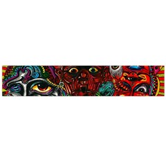 Abstract Psychedelic Face Nightmare Eyes Font Horror Fantasy Artwork Flano Scarf (large)