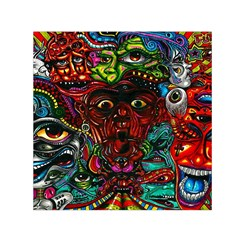 Abstract Psychedelic Face Nightmare Eyes Font Horror Fantasy Artwork Small Satin Scarf (square) by Nexatart