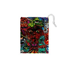 Abstract Psychedelic Face Nightmare Eyes Font Horror Fantasy Artwork Drawstring Pouches (xs)  by Nexatart