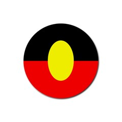 Flag Of Australian Aborigines Rubber Coaster (round)  by Nexatart