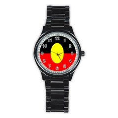 Flag Of Australian Aborigines Stainless Steel Round Watch by Nexatart