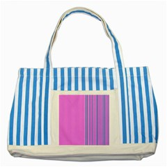 Lines Striped Blue Tote Bag by ValentinaDesign