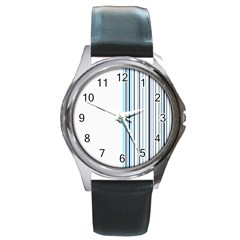 Lines Round Metal Watch by ValentinaDesign