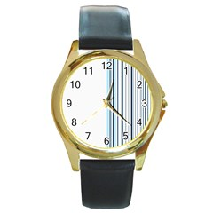 Lines Round Gold Metal Watch by ValentinaDesign