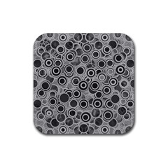 Abstract Grey End Of Day Rubber Square Coaster (4 Pack)  by Ivana