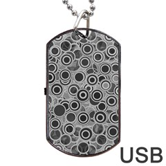 Abstract Grey End Of Day Dog Tag Usb Flash (two Sides) by Ivana