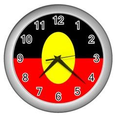 Flag Of Australian Aborigines Wall Clocks (silver)  by Nexatart