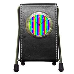 Rainbow Gradient Pen Holder Desk Clocks