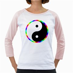 Rainbow Around Yinyang Girly Raglans