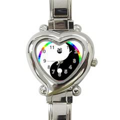 Rainbow Around Yinyang Heart Italian Charm Watch